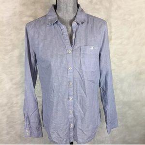 Caslon Button Down Shirt Blouse Pin Striped Career